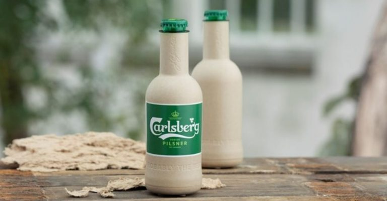 cervejaria dinamarquesa produz garrafa de papel